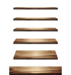 collection wooden shelves on an isolated white vector image