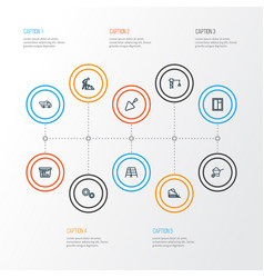 construction outline icons set collection of vector image