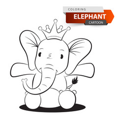 cute funny elephant character for vector image