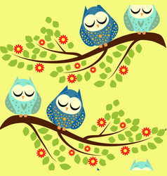 Cute owls seamless pattern funny forest background vector