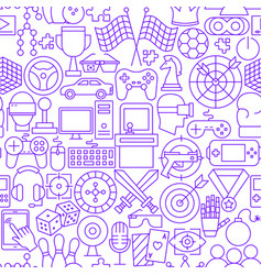 cyber game line seamless pattern vector image