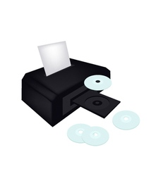 Disc Printer with CD or DVD Compact Disc vector