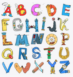 english alphabet cartoon style vector image