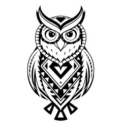 Ethnic style owl tattoo vector