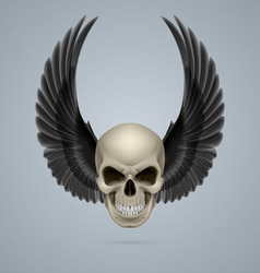 Evil skull with wings up vector image