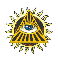 Eye providence sketch engraving vector