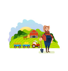 Farm and farmland village with gardens greenery vector