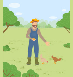 Farmer man in hat feeding chickens hens with vector