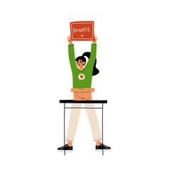 female volunteer with donate box volunteering vector image