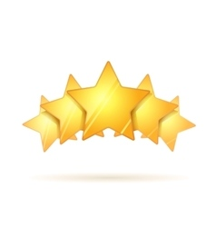 Five glossy golden rating stars with shadow on vector image