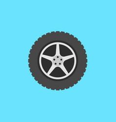 Flat car wheel with disc icon on blue vector