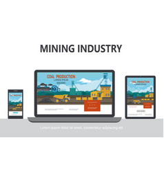 Flat mining industry adaptive design concept vector