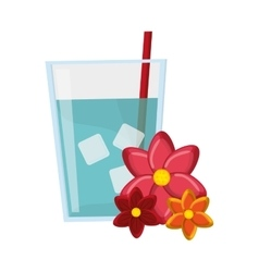 glass of water and flowers icon vector image