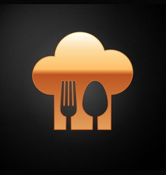 Gold chef hat with fork and spoon icon isolated on vector