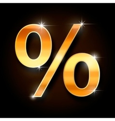 gold percent symbol vector image