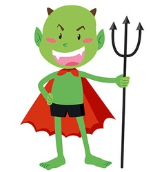 Green devil with a trident vector image