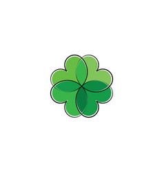 green heart leaves clover plant eco logo icon vector image