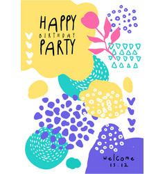 happy birthday party colorful template with date vector image