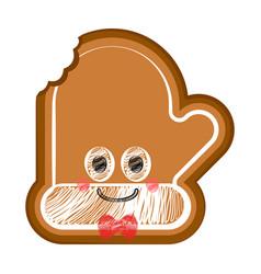 Happy bitten christmas glove gingerbread vector