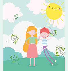 happy valentines day in love young couple grass vector image