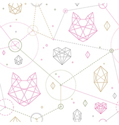 Hipster cat pattern vector