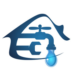 House and faucet with a drop of water vector