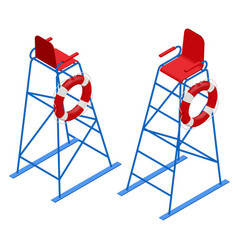 isometric watchtower on a sandy beach lifeguard vector image