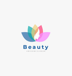 logo leaves with face color negative space style vector image