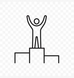 man on pedestal hands raised line icon vector image