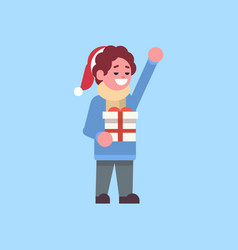 man wearing winter clothes hold gift box present vector image