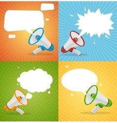 Megaphone Banners Bubbles Speech vector image