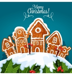 Merry Christmas gingerbread house poster vector
