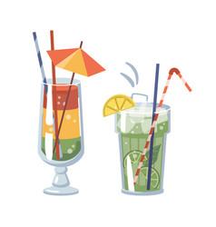 Mojito cocktail alcoholic beverage with umbrella vector