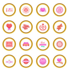 Mother day icons circle vector
