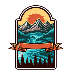 mountain and lake landscape hand drawn line vector image