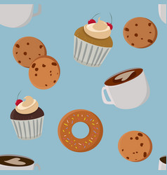 mugs cookies and muffins bakery seamless pattern vector image