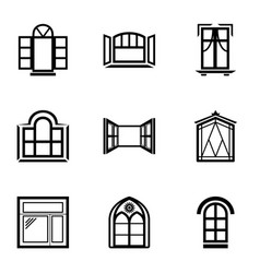 open window icons set simple style vector image