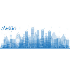 Outline austin texas city skyline with blue vector