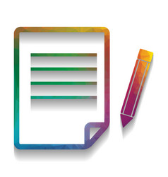 paper and pencil sign colorful icon with vector image