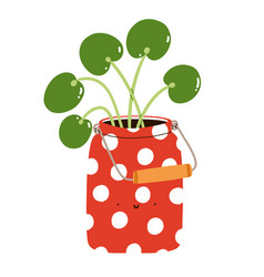 pilea peperomioides in a cute red polka dot can vector image