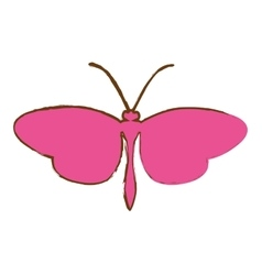 Pink butterfly icon vector