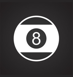 Pool eight ball icon on black background for vector