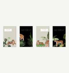 poster or card template set tigers and plants vector image