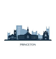 Princeton skyline monochrome silhouette vector