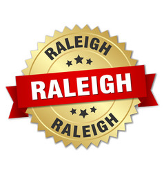 Raleigh round golden badge with red ribbon vector