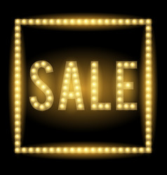 realistic glowing light sign of sale vector image