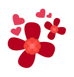 red flowers with heart shapes vector image