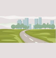 road way to city buildings on horizon vector image
