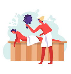 Sauna procedures couple relaxing in spa or vector