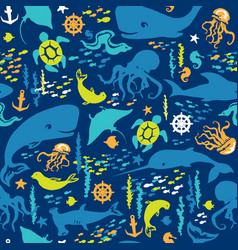 seamless pattern sea life vector image